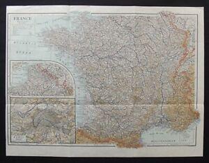 Antique Map: France by Emery Walker, Encyclopedia Britannica, 1910, Colour