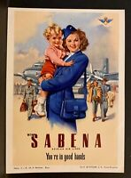 You're In Good Hands~SABENA BELGIAN AIR LINES Luggage Label ~Stewardess & Child