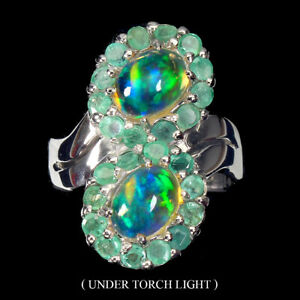 Oval Fire Opal 8x6mm Emerald 14K White Gold Plate 925 Sterling Silver Ring Sz 9
