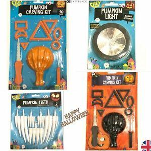Halloween Pumpkin Carving Kit Tools Teeth LED Light Scary Pumpkin Face Craft