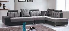 Divano soggiorno 332x190 cm angolare grigio penisola piedini cromati moderno|96