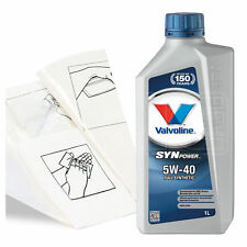 Engine Oil Top Up 1 LITRE Valvoline SynPower 5w-40 1L +Gloves,Wipes,Funnel