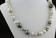 Exclusivo collar de Perlas DEL MAR SUR TAHITÍ y keshiperlen NUEVO ORO 585