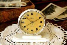 Small Alarm Clock Mechanical Soviet Clock Slava Golden Wind Up Clock Metal Clock