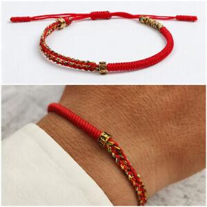 Bracciale da uomo Buddista in corda cordino con nodo Buddha portafortuna rosso