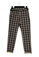 Vintage Style Plaid Check High Waisted Stretch Cigarette Pants Trousers BNWT