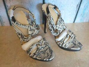 Victoria's Secret Strappy Snakeskin Open Toe Heels Shoes Black Silver 8.5B New