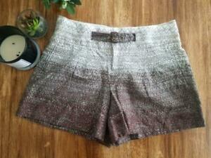 Coquille Anthropologie Scribble Shorts Belted Brown Ombré Linen Blend size 2 EUC