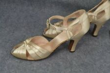 period lady shoes high heel peep toe white satin leather sole 7.5 sz 1930-40