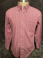 Men's - Southern Tide Skipjack Logo Plaid Button Shirt (Red/Pink) - Size MEDIUM