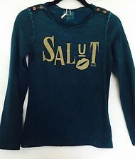 Scotch R'Belle Dark Teal & Gold Shirt.NWT Age 12 Retail $51 Price $29