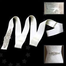 Wedding Crystal Rhinestones Bridal Accessory Dress Sash Belt Ivory Party Ribbon