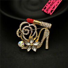 Woman Betsey Johnson Brooch Pin Shiny Lipstick High Heels Flower Rhinestone