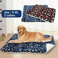 Winter Dog Cat Bed Mat Pet Cushion Blanket Warm Paw Print Puppy Cat Fleece Pads