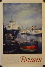 Affiche BRITAIN LIVERPOOL DOCKS Années '50 Tourisme