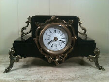 BLACK MARBLE MANTEL CLOCK BRONZE FRENCH STYLE