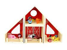 Kaper Kidz Children's 15pc Wooden Farm Figurine Play Set w Animals & Barn!