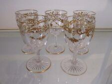 Magnifique 5 verres à liqueur cristal Baccarat LXV rocaille or vodka glasses