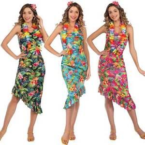 Adult Ladies Hawaiian Fancy Dress Costume Hula Luau Lei Flower Beach Party