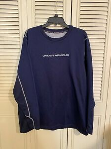 Mens Under Armour Cold Gear  Base 2.0 Blue Crew Neck Base Layer Top Size 2XL