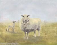 """Out of the Mist, Wooly Sheep"" Debra Sepos original oil 8"" x10""  farm landscape"