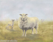 """Out of the Mist, Wooly Sheep"" Debra Sepos original oil 8"" x10""  farm landscape"