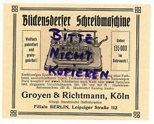 KÖLN, Werbung 1911, Groyen & Richtmann Blickensderfer Schreibmaschine Büro-Techn