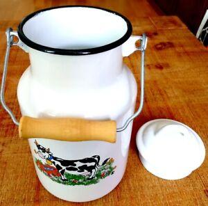 Milch-Kanne mit Deckel Kanne Milchkrug Emaille ca. 2l Email Milch
