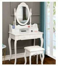White Vanity With Rose Knobs, New, 2020 Model, 4 Drawer, Stool, Mirror