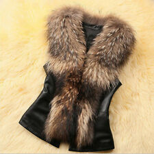 Womens Gilet Outwear Long Slim Vest Faux Fox Fur Waistcoat Jacket Short Coat