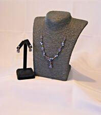 Blue Rhinestone Necklace & Pierced Earring Set