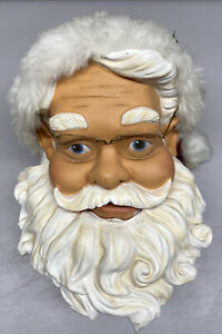"Head Only~Gemmy 50"" Animated Singing Dancing Santa Claus Hat Glasses Face Shield"