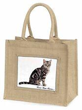Silver Tabby Cat 'Love You Mum' Large Natural Jute Shopping Bag Ch, AC-157lymBLN