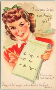 "Rally Day / Sunday School Church Postcard ""A Memo to the Working Girl"" Shorthand"
