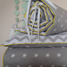 100%COTTON Cot Bed Duvet Cover Set & Bumper Grey Stars Chevron Zig Boys Girls