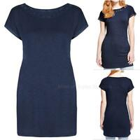 New Ex M&S Ladies Navy Blue Jersey Short Sleeve Long Tunic Top Size 8 - 20