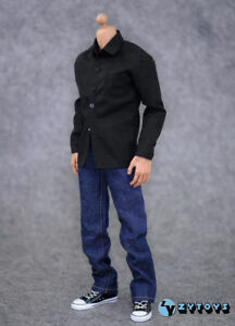 Male Clothes Set 1/6 Black Shirt&Blue Jeans Accessory For 12'' Action Figure