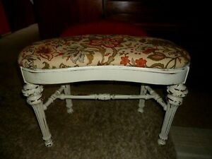 Vintage Distressed Mount Airy Vanity Bench Stool Shabby Farm House Style