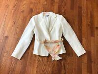Ann Taylor Womens Cream Linen Blend Career Blazer Lined Jacket Floral Belt - 2 P