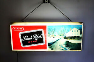 "Vintage 1960's BLACK LABEL BEER Carling Bar Light by Tel-A-Sign 25"" Across"
