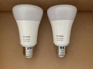 2 x Philips Hue E27 White and Colour Ambiance Light Bulbs With Bluetooth