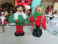 Lot of 2 Pauline Lindell Otawonna,Mn HandCrafted Christmas Singing Musical Dolls