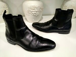 Hugo Boss Black Leather Ankle Boots Mens Size 8 D Pull-Up Handles Good Condition