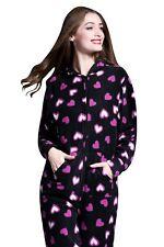 Ladies Womens Fleece Onesie All in One Jumpsuit Zip Playsuit Nightwear Pyjamas M