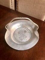 Beautiful Hammered Aluminum Fall Design Pumpkin/wheat Basket Tray Handle 12""
