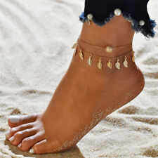Women Adjustable Bohemian Beads Anklets Double Chain Leaves Pendant Jewelry Gift