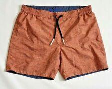 Robert Graham Mens Swim Trunks Classic Fit Size 38 Geometric Orange Tan Design