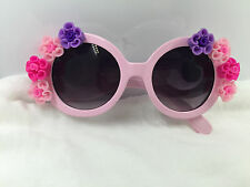 Vintage fashion style pink frame with clay flower UV 400 handmade sunglasses