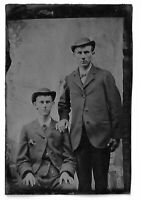 Tintype Photograph Two Men Wearing Hats - Appear to be Twins Defiantly Brothers