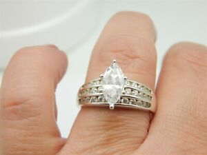 925 STERLING SILVER 2 CARAT MARQUISE DIAMONIQUE DQ CZ ENGAGEMENT RING SIZE: 9.75